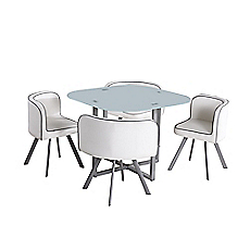 Comedor 4 sillas 100 x 100 x 75 cm blanco M+Design - Easy.cl