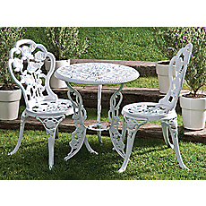 Set terraza mesa 2 sillas fierro blanco outzen for Easy terrazas chile