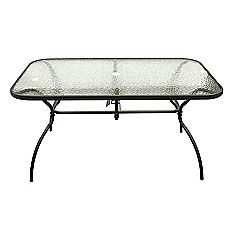 Mesa rectangular cubierta vidrio 1 50 metros negro outzen for Easy terrazas chile